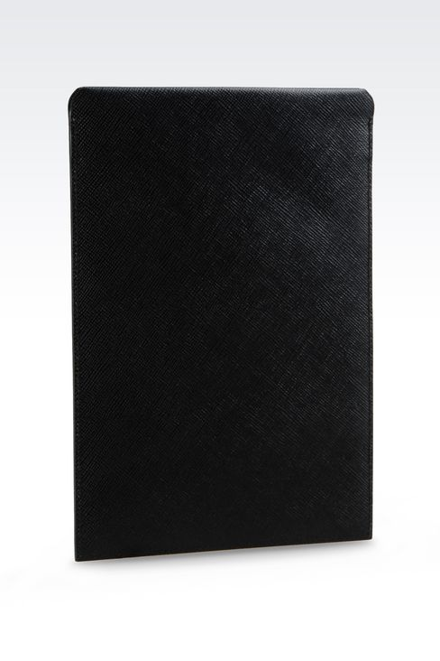 TABLET HOLDER IN SAFFIANO CALFSKIN: iPad holders Men by Armani - 2