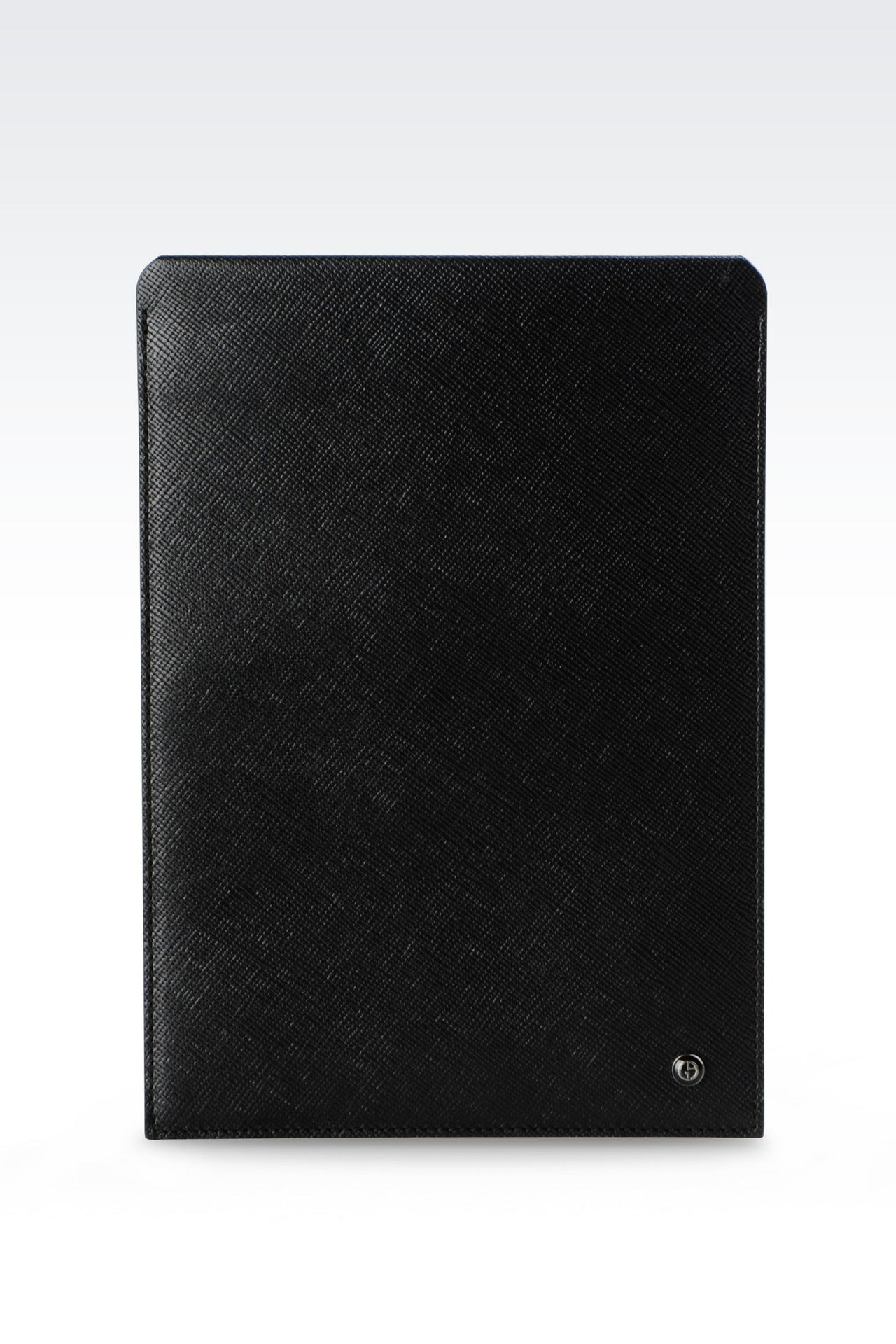TABLET HOLDER IN SAFFIANO CALFSKIN: iPad holders Men by Armani - 0