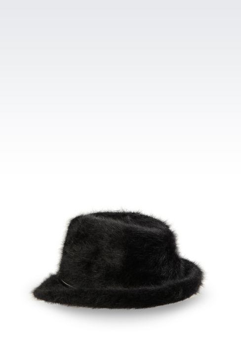 CLASSIC NARROW BRIMMED HAT IN ANGORA: Hats Women by Armani - 2