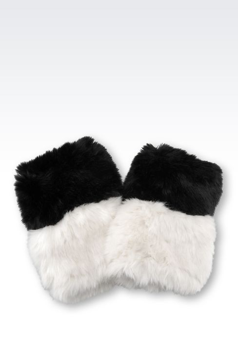 CUFFS IN TWO-COLOUR FAUX FUR: Cuffs Women by Armani - 1