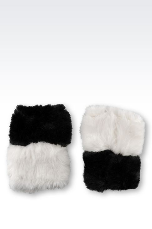 CUFFS IN TWO-COLOUR FAUX FUR: Cuffs Women by Armani - 2