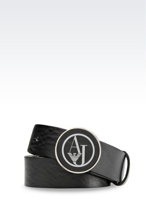 LEATHER BELT WITH LOGOED BUCKLE: Textile belts Women by Armani - 1