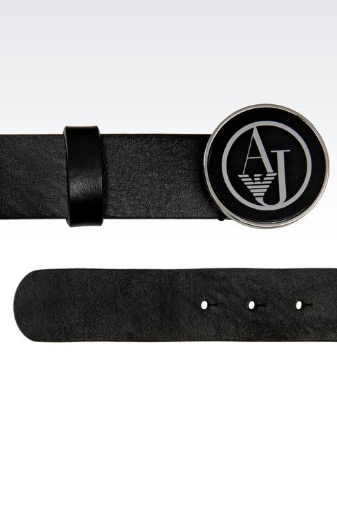 LEATHER BELT WITH LOGOED BUCKLE: Textile belts Women by Armani - 2