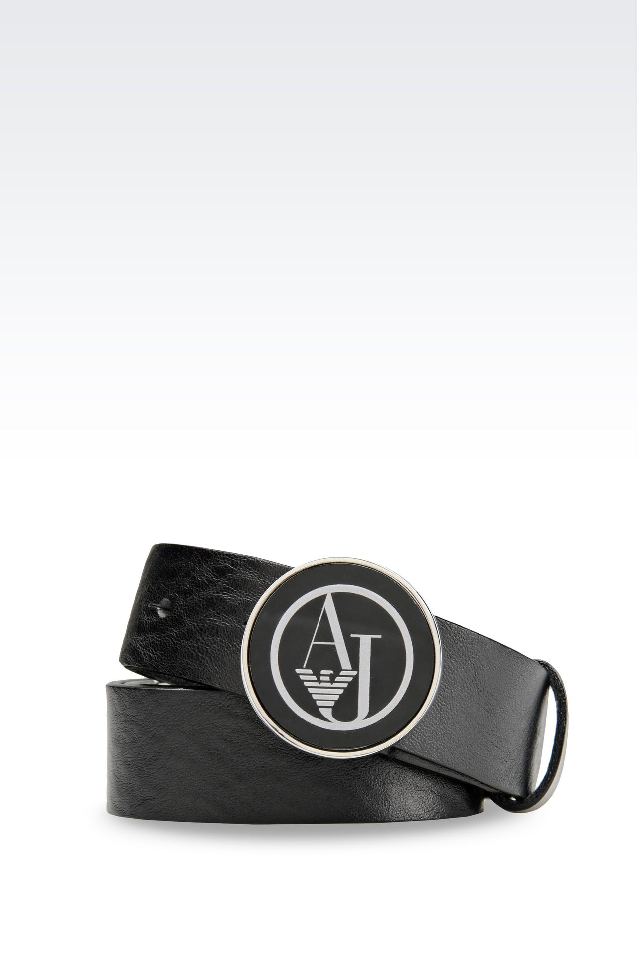 LEATHER BELT WITH LOGOED BUCKLE: Textile belts Women by Armani - 0