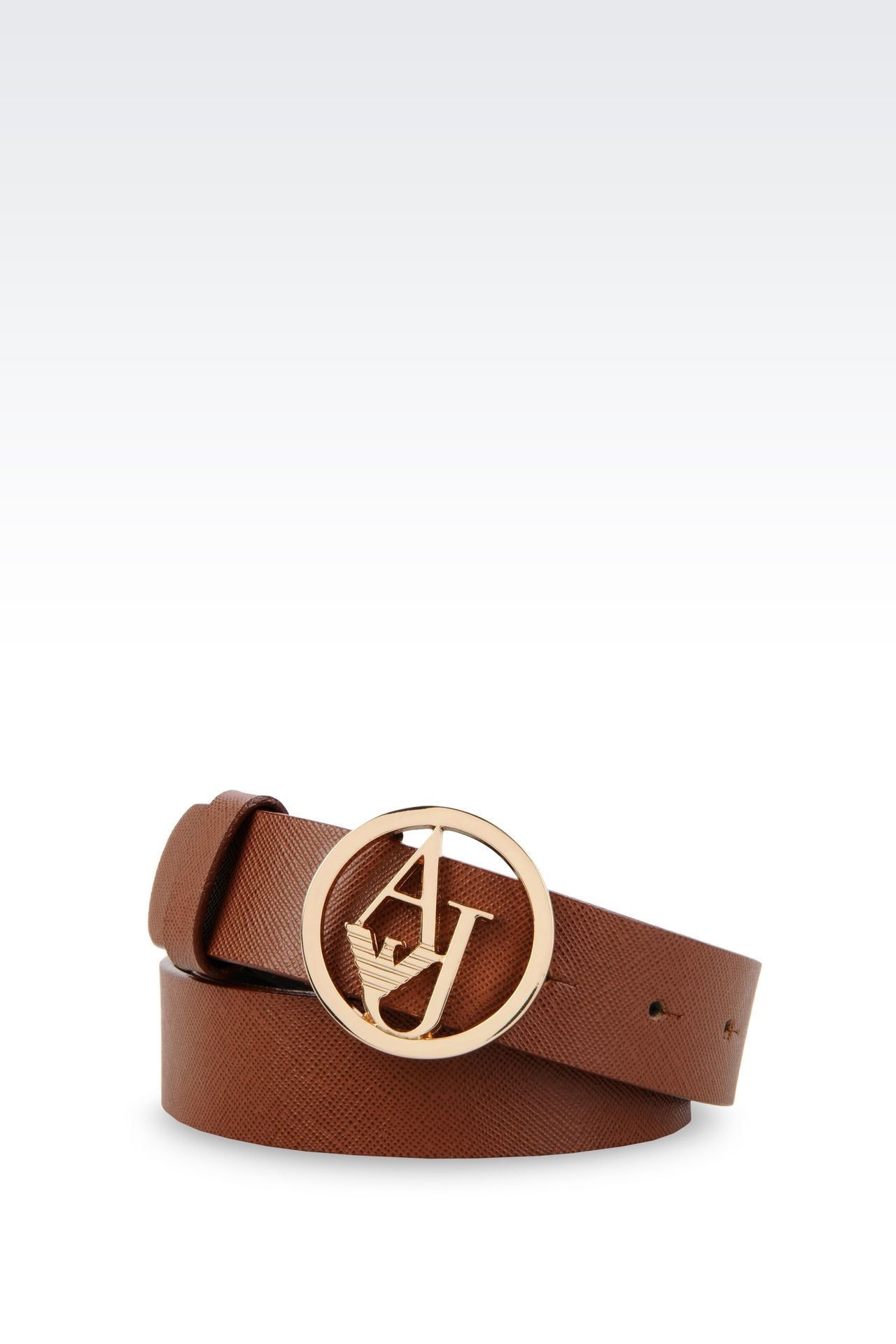 SAFFIANO LEATHER BELT WITH LOGOED BUCKLE: Textile belts Women by Armani - 0