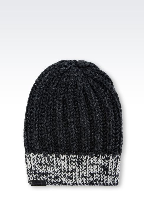 BEANIE IN WOOL BLEND: Hats Men by Armani - 1