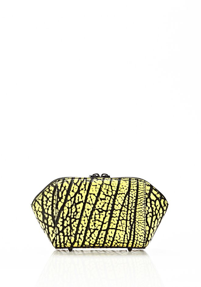 ALEXANDER WANG CHASTITY MAKE UP POUCH IN CONTRAST TIP CITRON SMALL LEATHER GOOD Adult 12_n_e