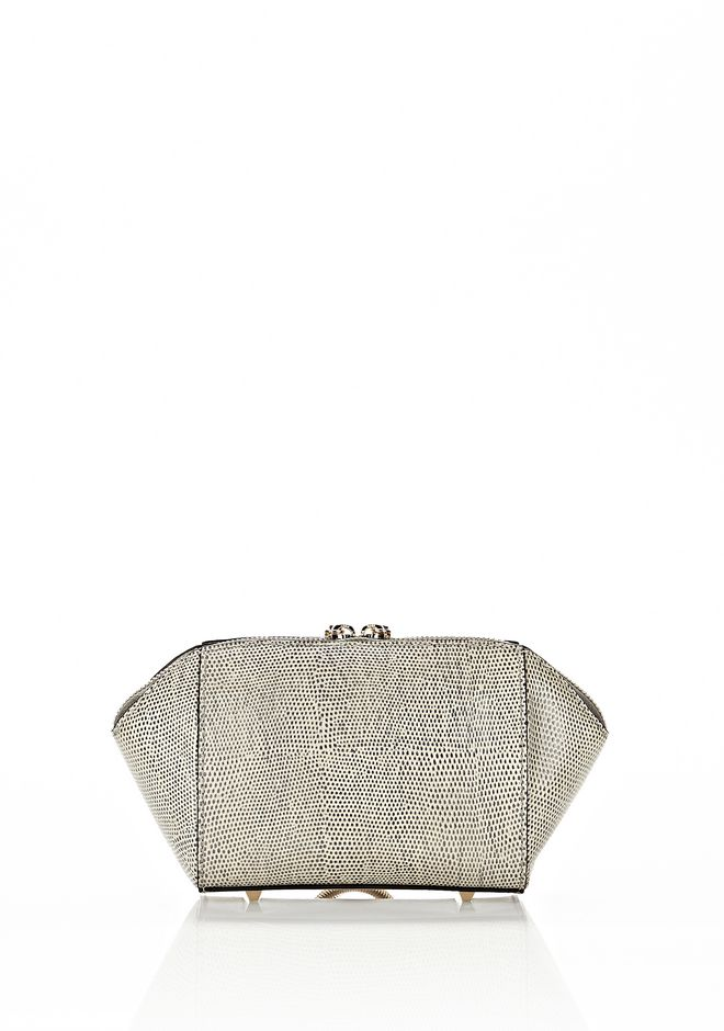 ALEXANDER WANG CHASTITY MAKE UP POUCH IN GRAPHIC OYSTER SMALL LEATHER GOOD Adult 12_n_e