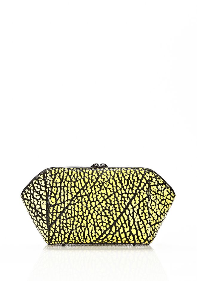 ALEXANDER WANG LARGE CHASTITY MAKE UP CLUTCH IN CONTRAST TIP CITRON SMALL LEATHER GOOD Adult 12_n_e