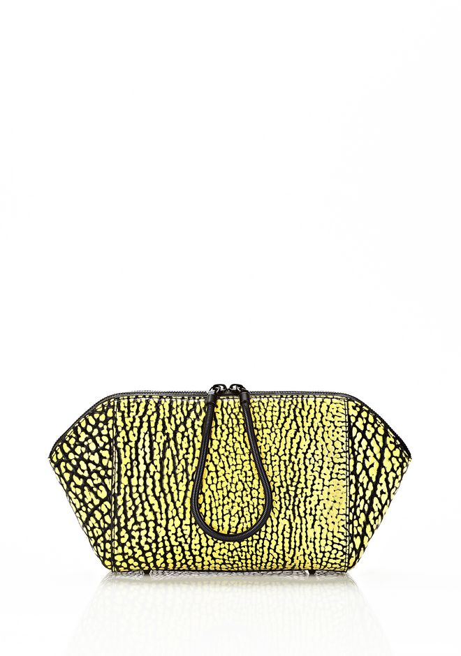 ALEXANDER WANG LARGE CHASTITY MAKE UP CLUTCH IN CONTRAST TIP CITRON