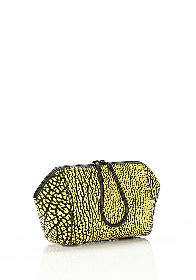 ALEXANDER WANG LARGE CHASTITY MAKE UP CLUTCH IN CONTRAST TIP CITRON SMALL LEATHER GOOD Adult 12_n_r