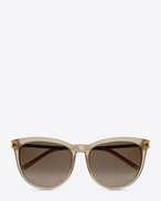 Classic 24  sunglasses in beige opal acetate AND SILVER METAL with brown shaded lenses