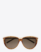 New Wave 32 sunglasses in havana and rose gold metal with brown shaded lenses