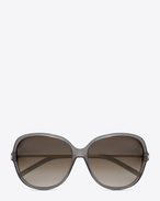 Classic 23  sunglasses in grey acetate AND ROSE GOLD METAL with dark brown shaded lenses