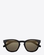Classic 28  sunglasses in black acetate with grey bronze mirrored lenses