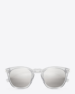 Classic 28  sunglasses in crystal acetate with grey mirrored silver lenses