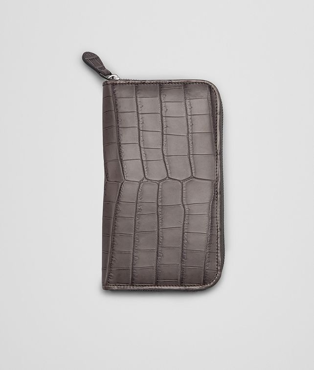 NEW LIGHT GREY Soft Crocodile Fumé ZIP AROUND WALLET