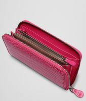 ZIP AROUND WALLET IN ROSA SHOCK CROCODILE