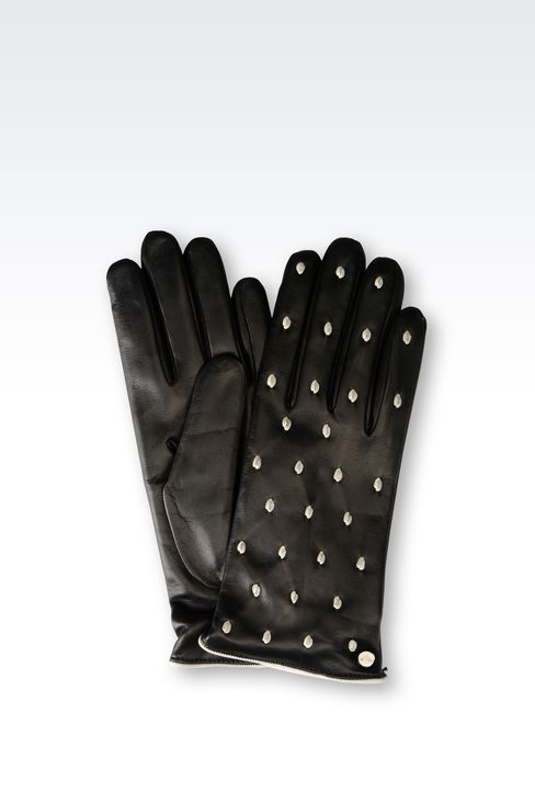 RUNWAY GLOVE IN POLKA DOT NAPA LEATHER: Gloves Women by Armani - 1