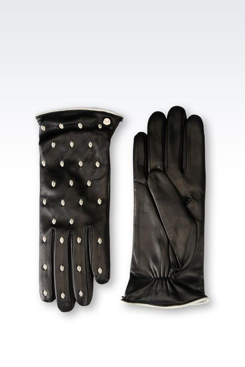 RUNWAY GLOVE IN POLKA DOT NAPA LEATHER: Gloves Women by Armani - 2