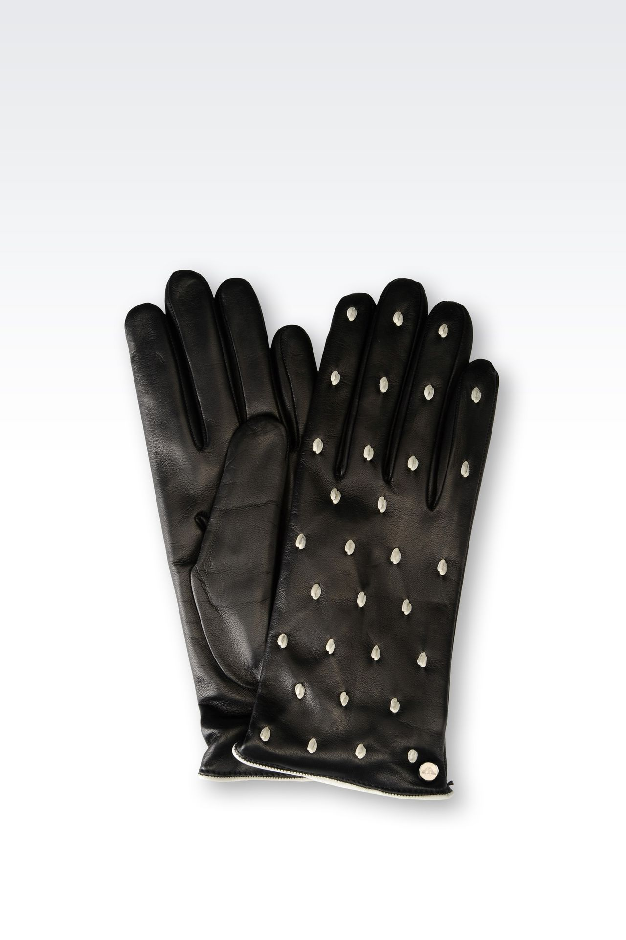 RUNWAY GLOVE IN POLKA DOT NAPA LEATHER: Gloves Women by Armani - 0