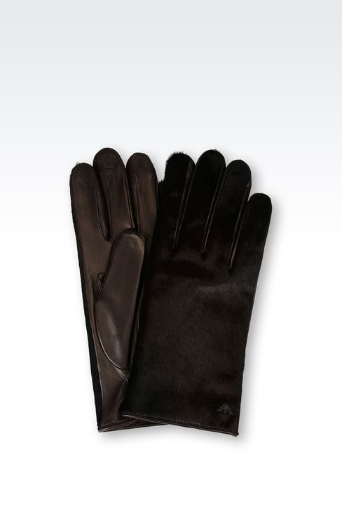 RUNWAY GLOVE IN PONY SKIN EFFECT NAPA LEATHER: Gloves Men by Armani - 1