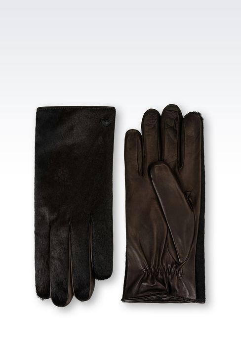 RUNWAY GLOVE IN PONY SKIN EFFECT NAPA LEATHER: Gloves Men by Armani - 2