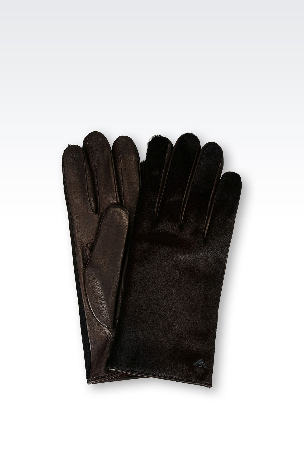 RUNWAY GLOVE IN PONY SKIN EFFECT NAPA LEATHER: Gloves Men by Armani - 0
