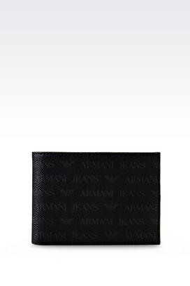 Armani Wallets Men bi-fold wallet in logo patterned pvc