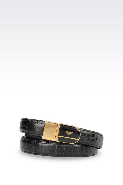 REVERSIBLE CALFSKIN BELT: Leather belts Women by Armani - 1