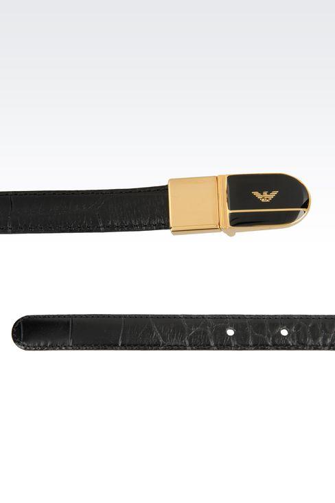REVERSIBLE CALFSKIN BELT: Leather belts Women by Armani - 2