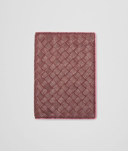 BOTTEGA VENETA - Aubergine Rosa Shock Intrecciato Washed Vintage Passport Case