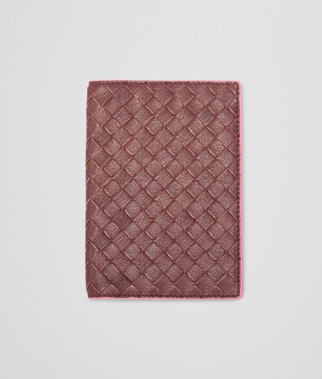 BOTTEGA VENETA Aubergine Rosa Shock Intrecciato Washed Vintage Passport Case Other Leather Accessory E fp