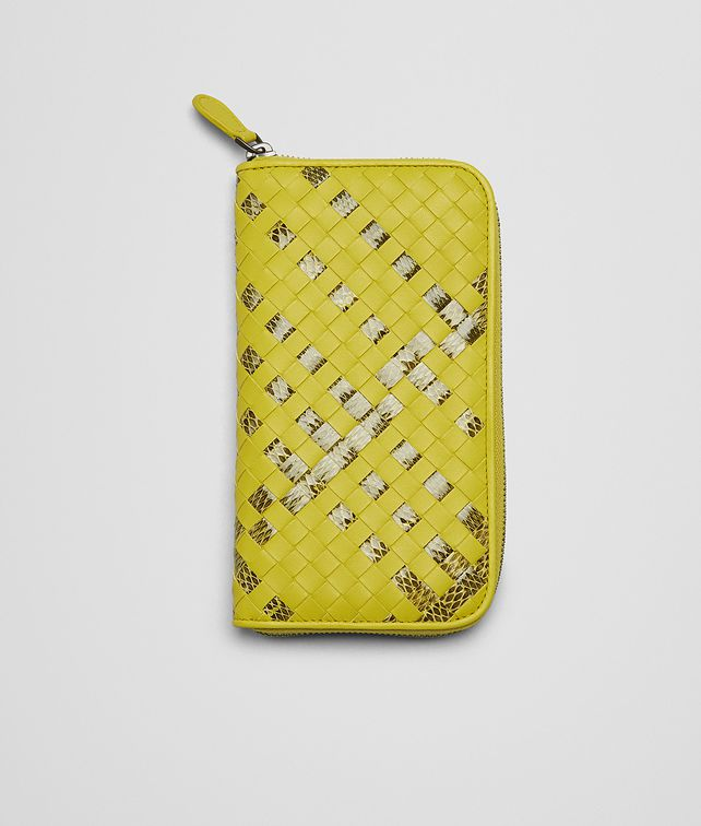 New Chartreuse Intrecciato Ayers Nappa Zip Around Wallet