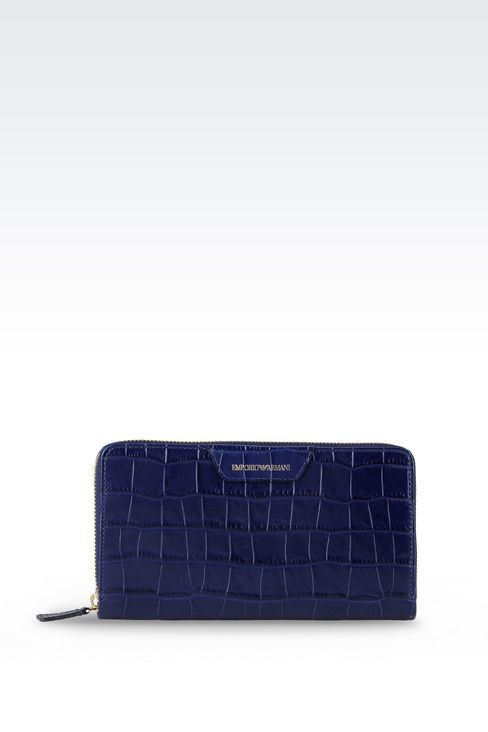ZIP AROUND WALLET IN CROC PRINT CALFSKIN: Wallets Women by Armani - 1