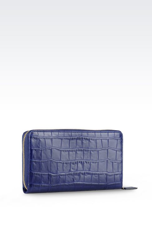 ZIP AROUND WALLET IN CROC PRINT CALFSKIN: Wallets Women by Armani - 2