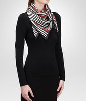 BLACK RED SILK FOULARD