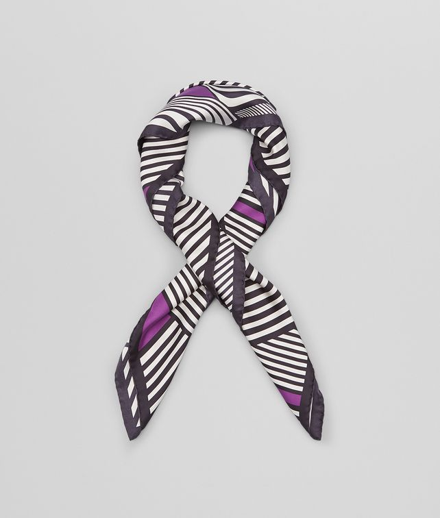 BLACK DARK PURPLE SILK FOULARD