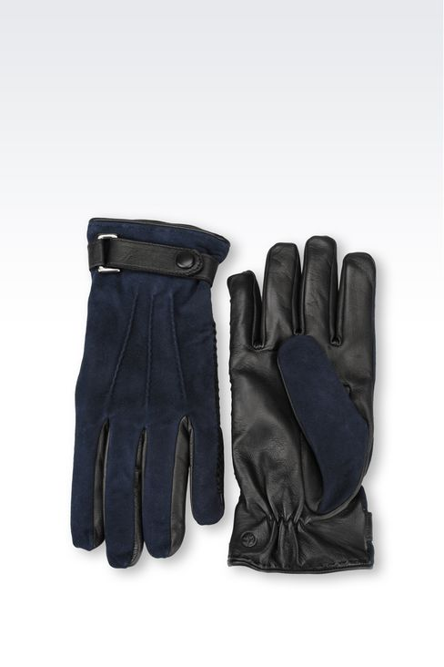 SUEDE AND NAPPA GLOVE: Gloves Men by Armani - 2