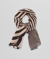 WHITE BLACK  CASHMERE SILK WOOL  SCARF