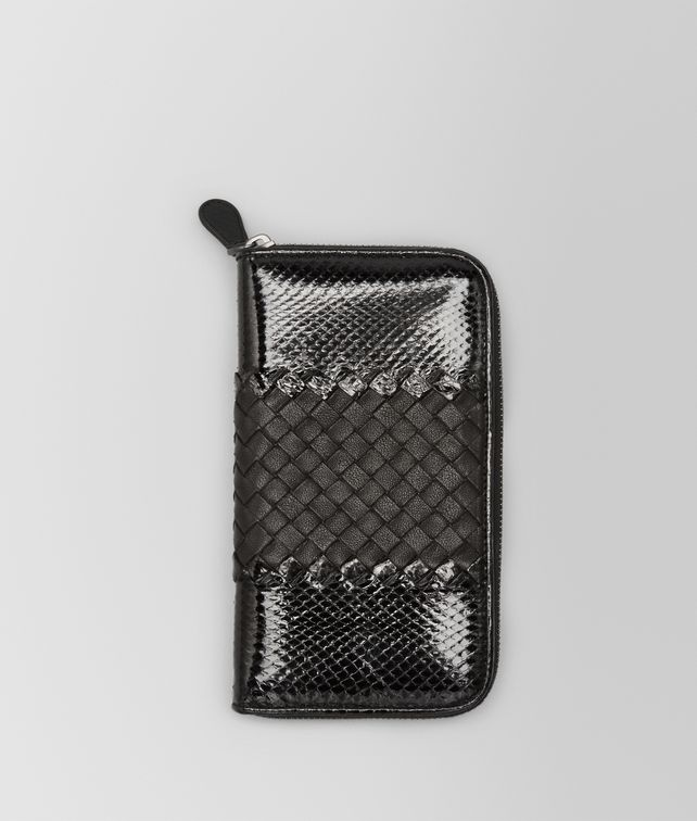 ZIP AROUND WALLET IN NERO AYERS AND LAMBSKIN