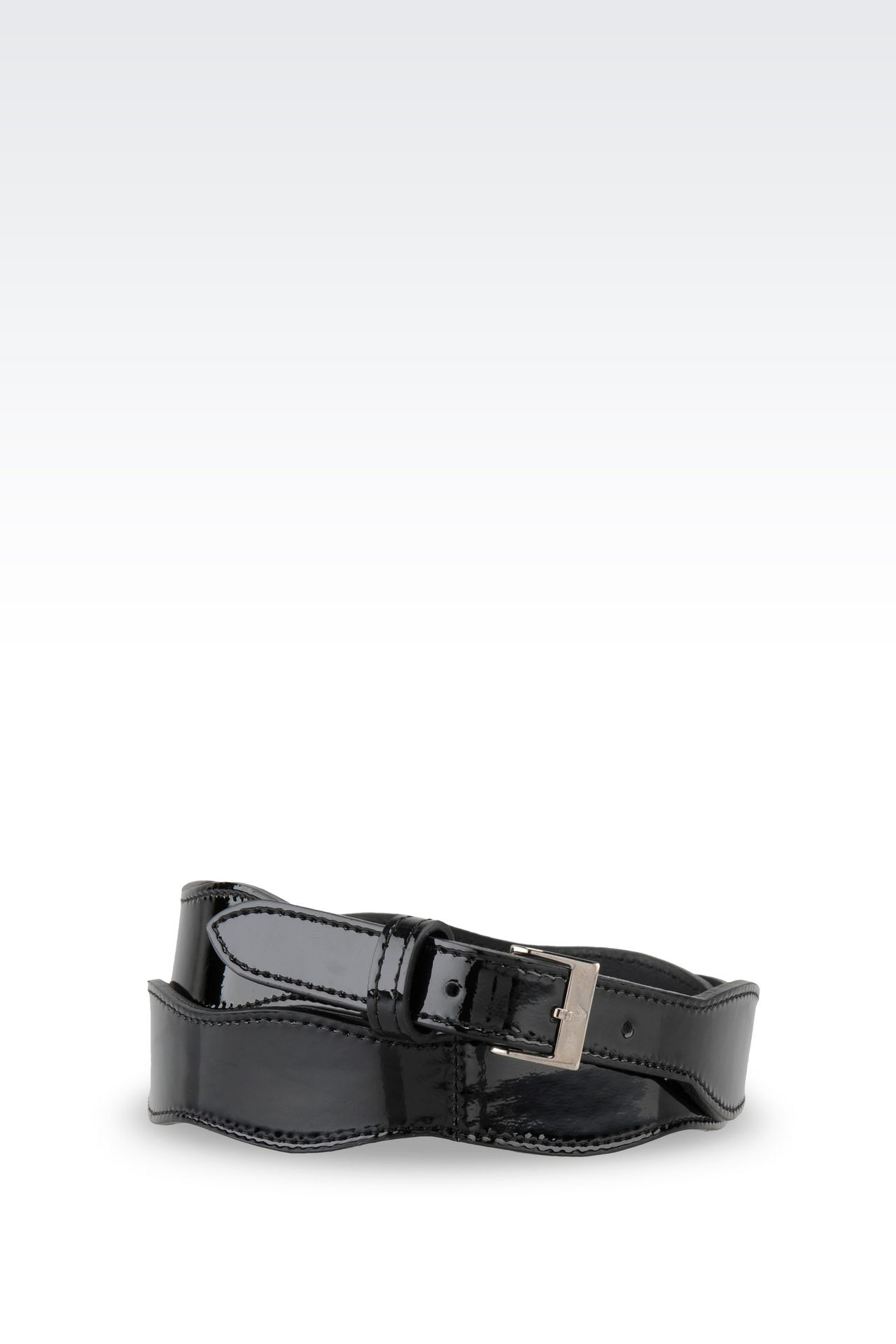 PATENT BELT: Leather belts Women by Armani - 0