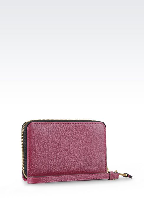 ZIP AROUND WALLET IN PRINTED CALFSKIN WITH IPHONE HOLDER