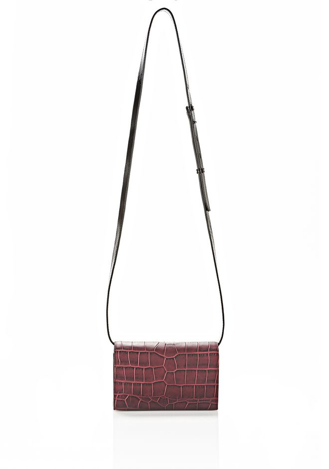 ALEXANDER WANG PRISMA DOUBLE BIKER SLING IN EMBOSSED BEET SMALL LEATHER GOOD Adult 12_n_d