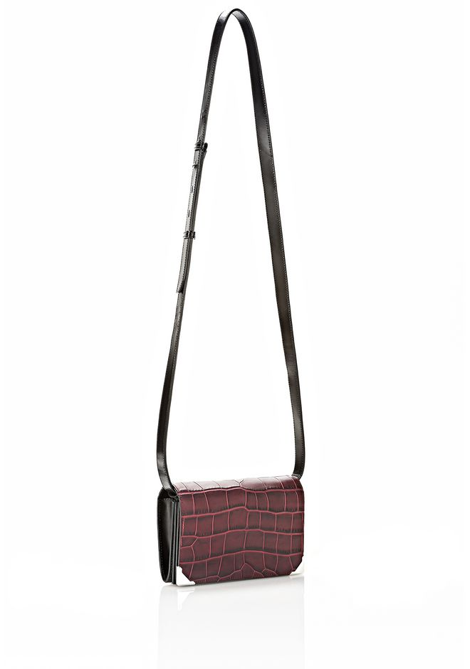 ALEXANDER WANG PRISMA DOUBLE BIKER SLING IN EMBOSSED BEET SMALL LEATHER GOOD Adult 12_n_e