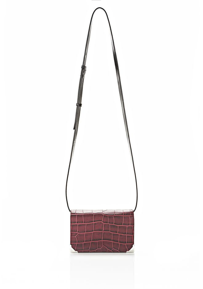 ALEXANDER WANG PRISMA DOUBLE BIKER SLING IN EMBOSSED BEET SMALL LEATHER GOOD Adult 12_n_f