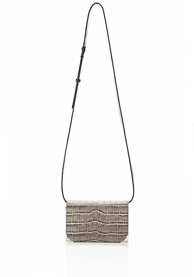 ALEXANDER WANG PRISMA DOUBLE BIKER PURSE IN EMBOSSED OYSTER SMALL LEATHER GOOD Adult 12_n_f