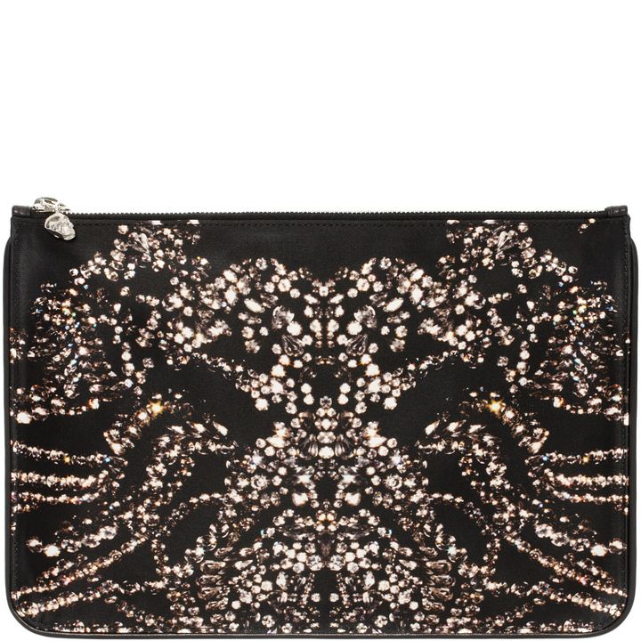 Alexander McQueen, Jewelled Print Skull Charm Pouch