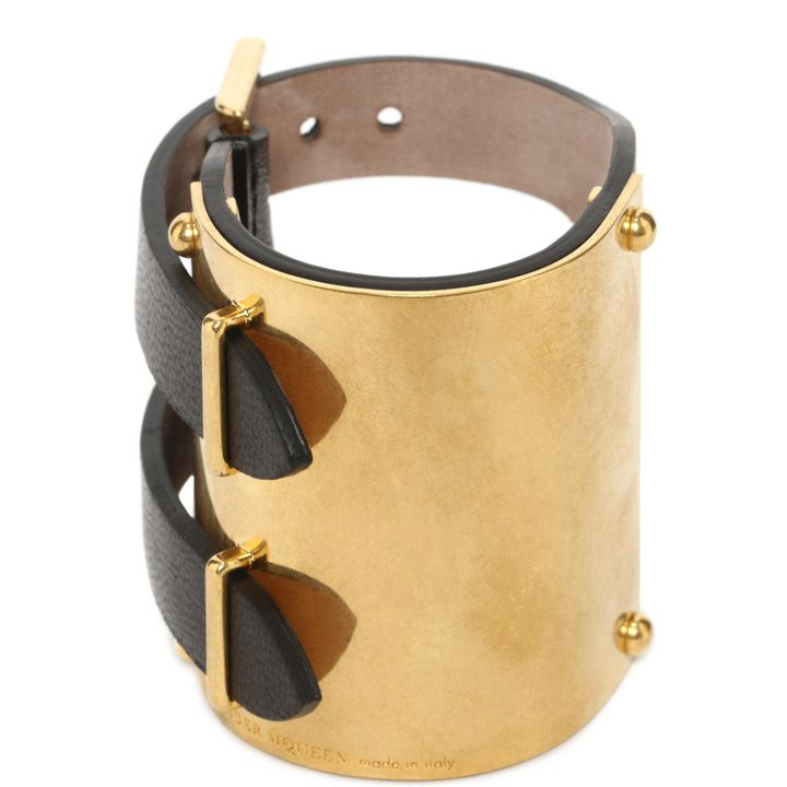 Alexander McQueen, Metal Plaque Leather Cuff