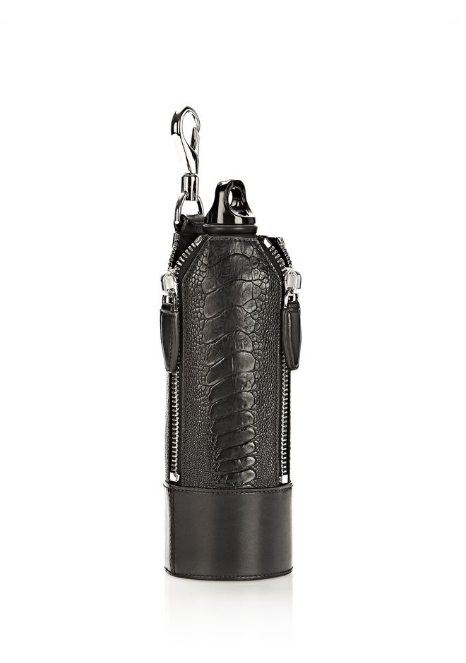ALEXANDER WANG RUNWAY WATER BOTTLE IN EMBOSSED BLACK WITH RHODIUM SMALL LEATHER GOOD Adult 12_n_d